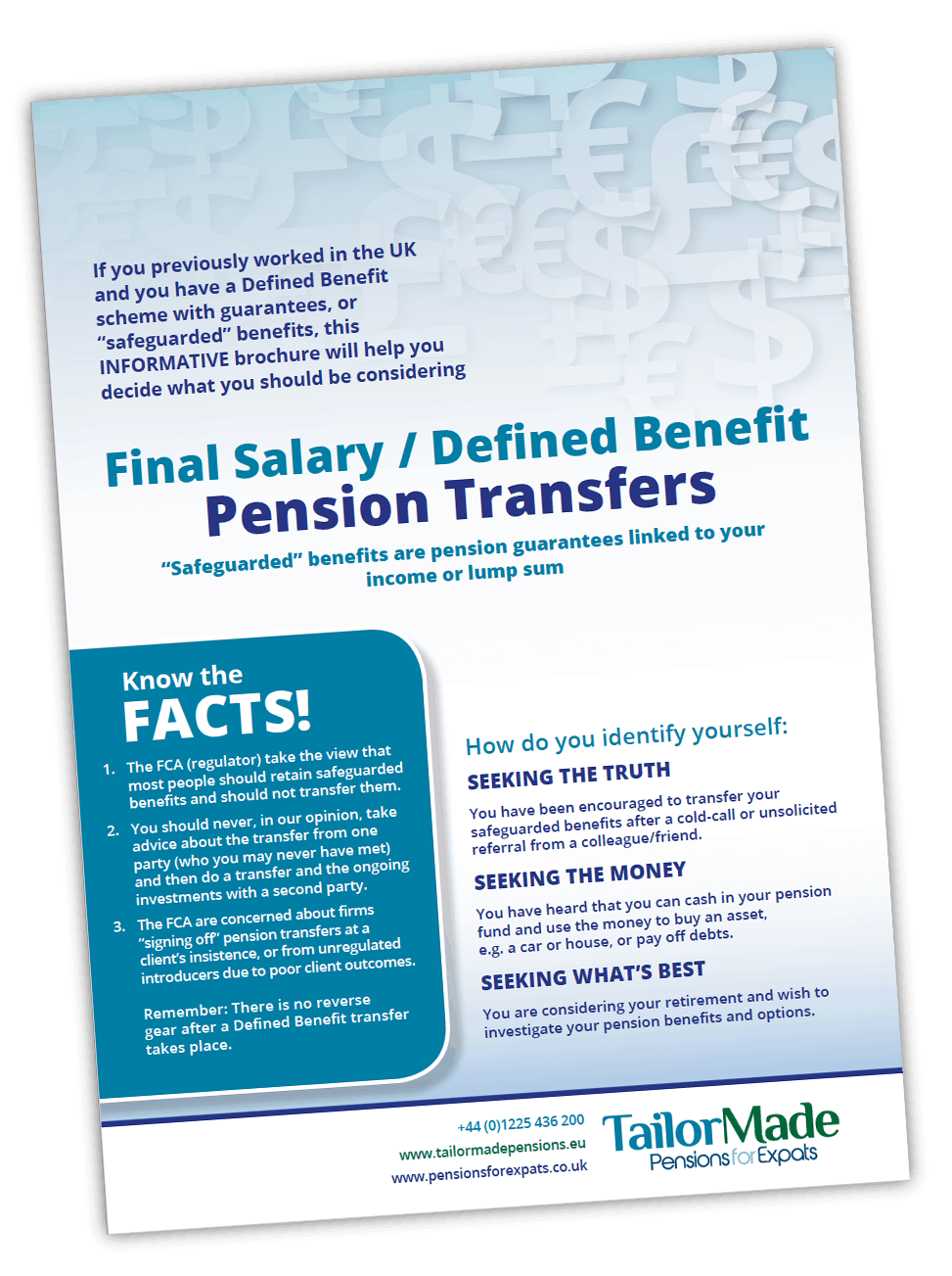 British Pensions Defined Benefit Transfers SIPPs Information For USA Brochure