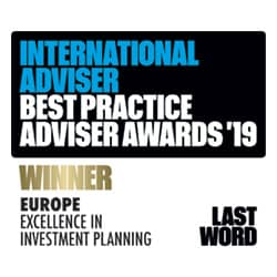 International Adviser Best Practice Award 2019 - Excellence In Investment Planning Winner